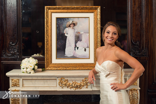 Bridal standing by a mantel