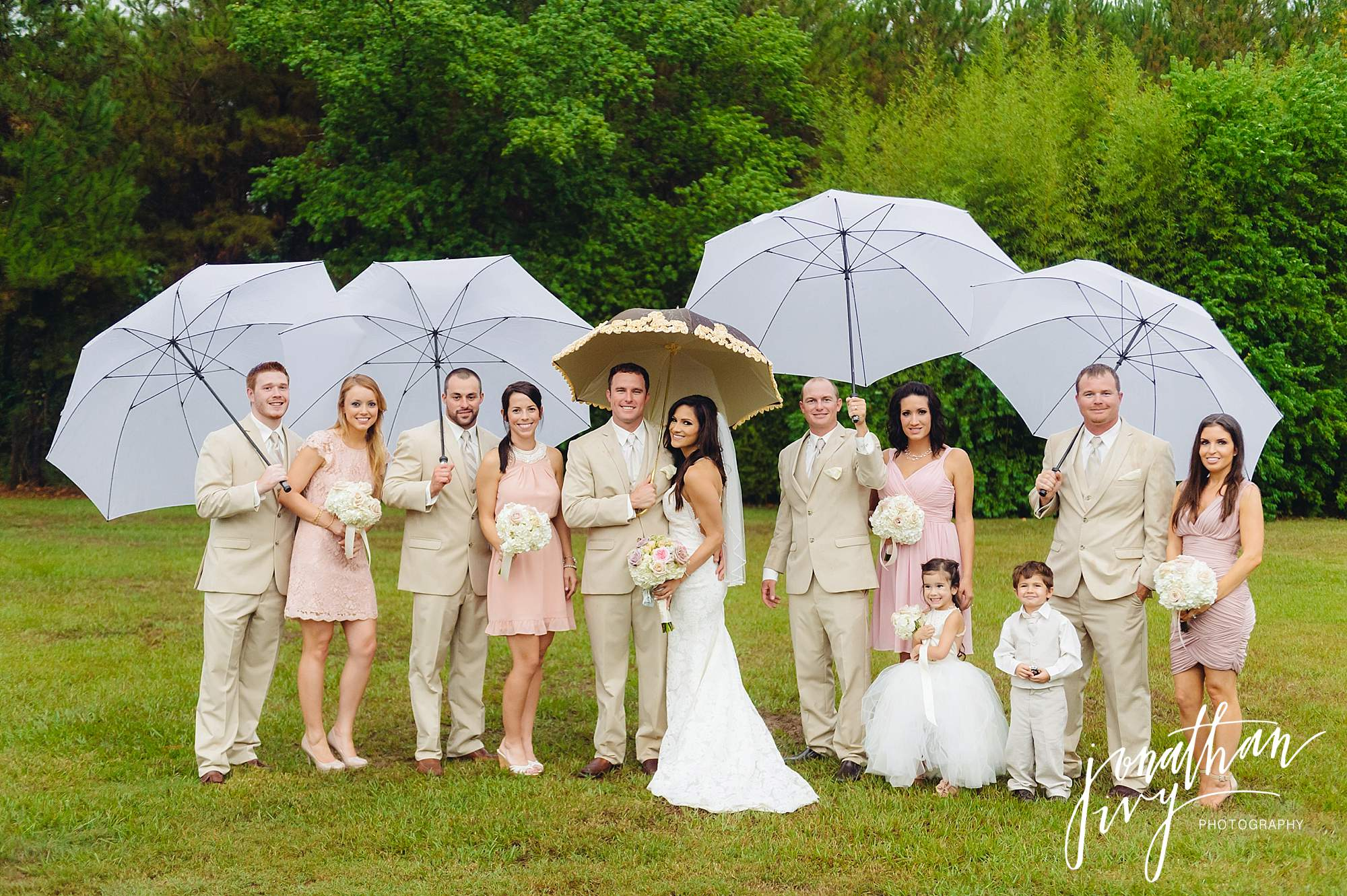 Umbrellas Wedding Party Group Shot