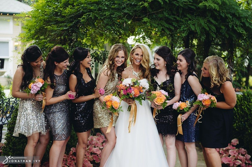 Glitter Bridesmaids Dresses with sequins and feathers