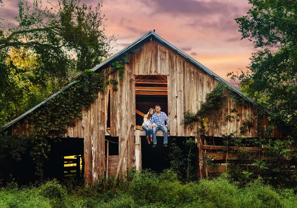 rustic barn engagement photographer
