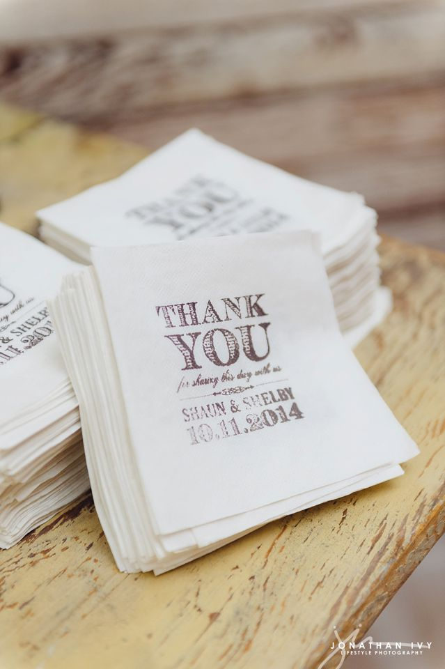 Custom Wedding Thank you Napkins