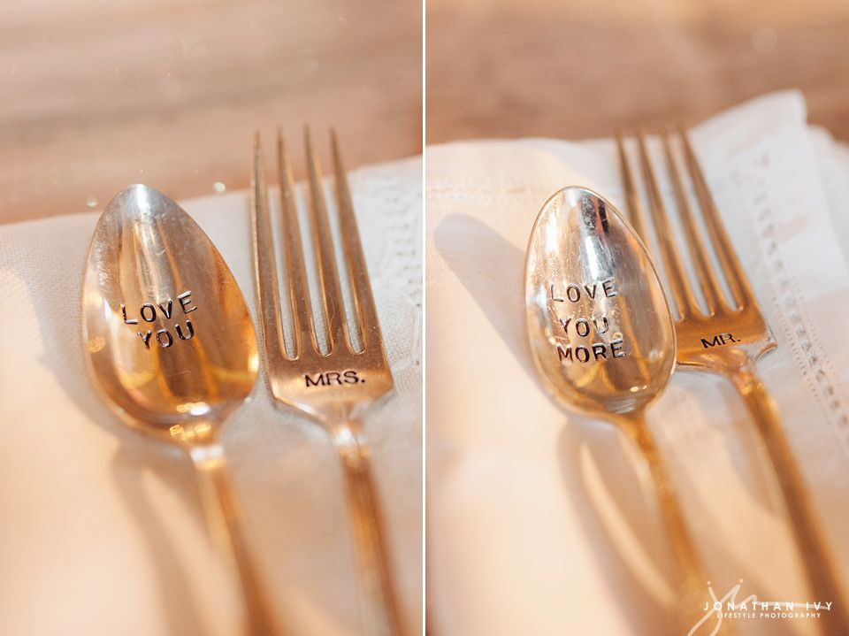 Love You, Love you More Engraved spoon and fork