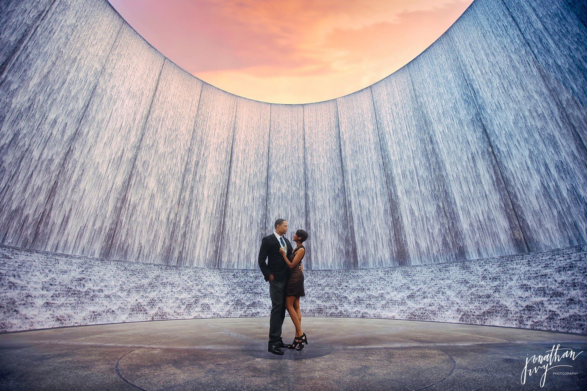 Houston Waterwall Engagement Photos