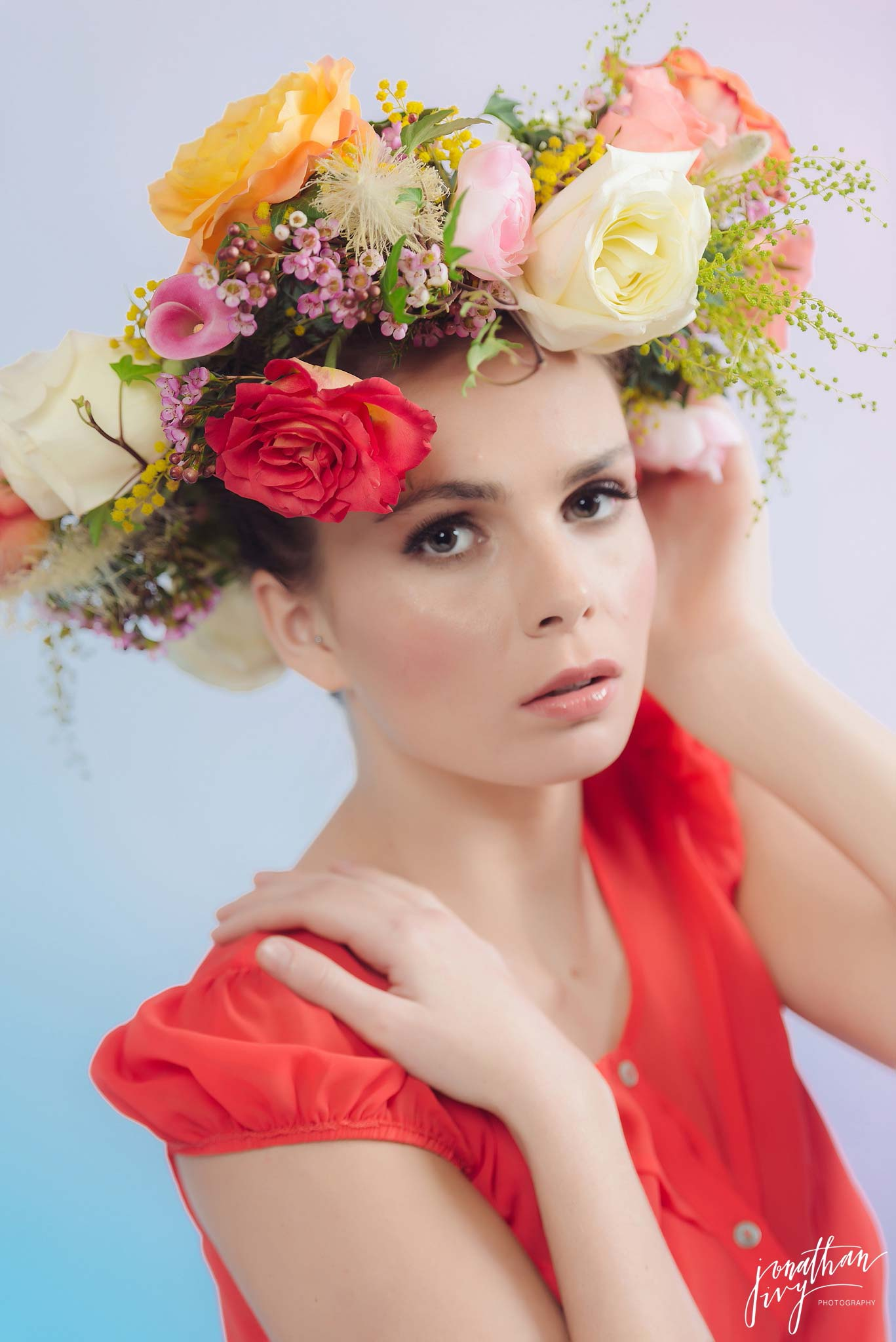 bright multicolored hairpiece floral crown headpiece