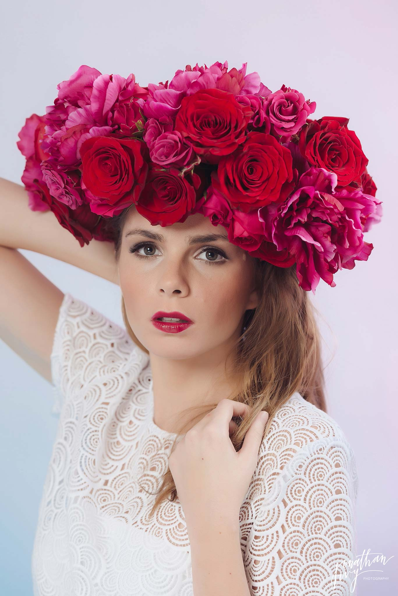 dark pink floral headpiece crown