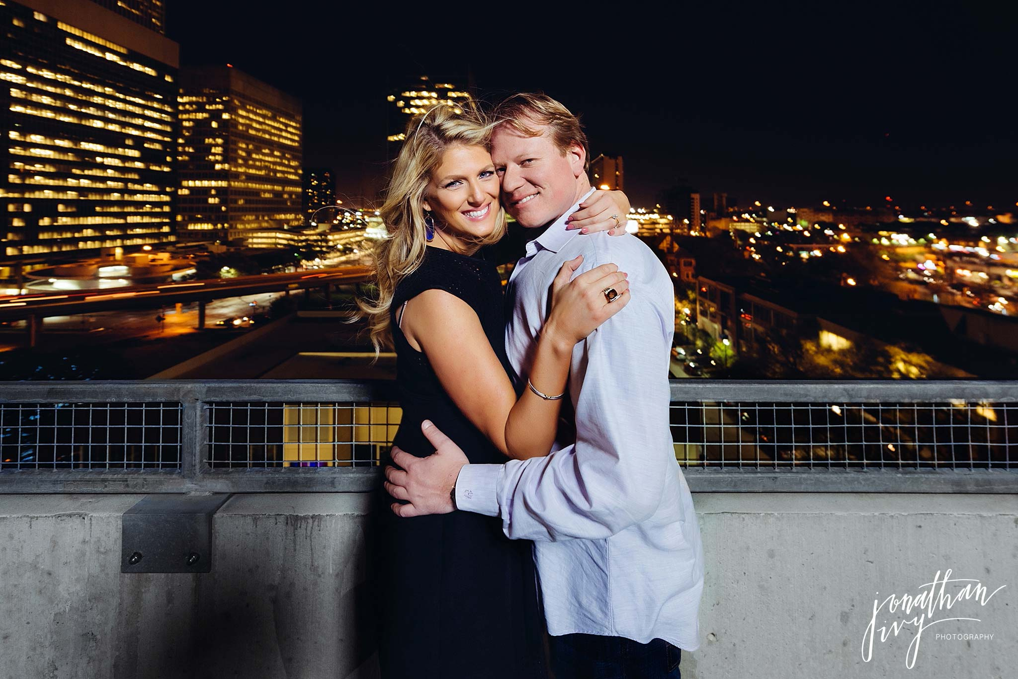 Nighttime houston engagement photos