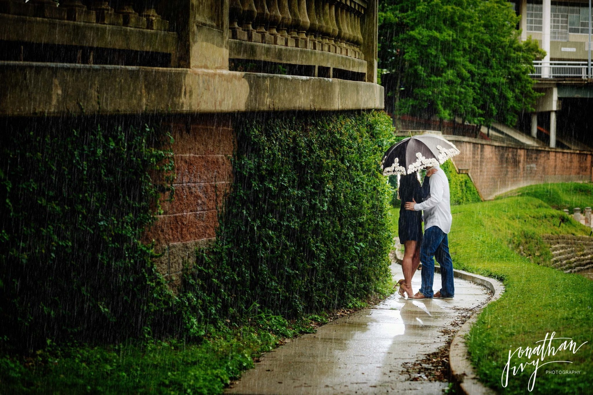 Rainy Engagement Photo Umbrella Buffalo Bayou Houston