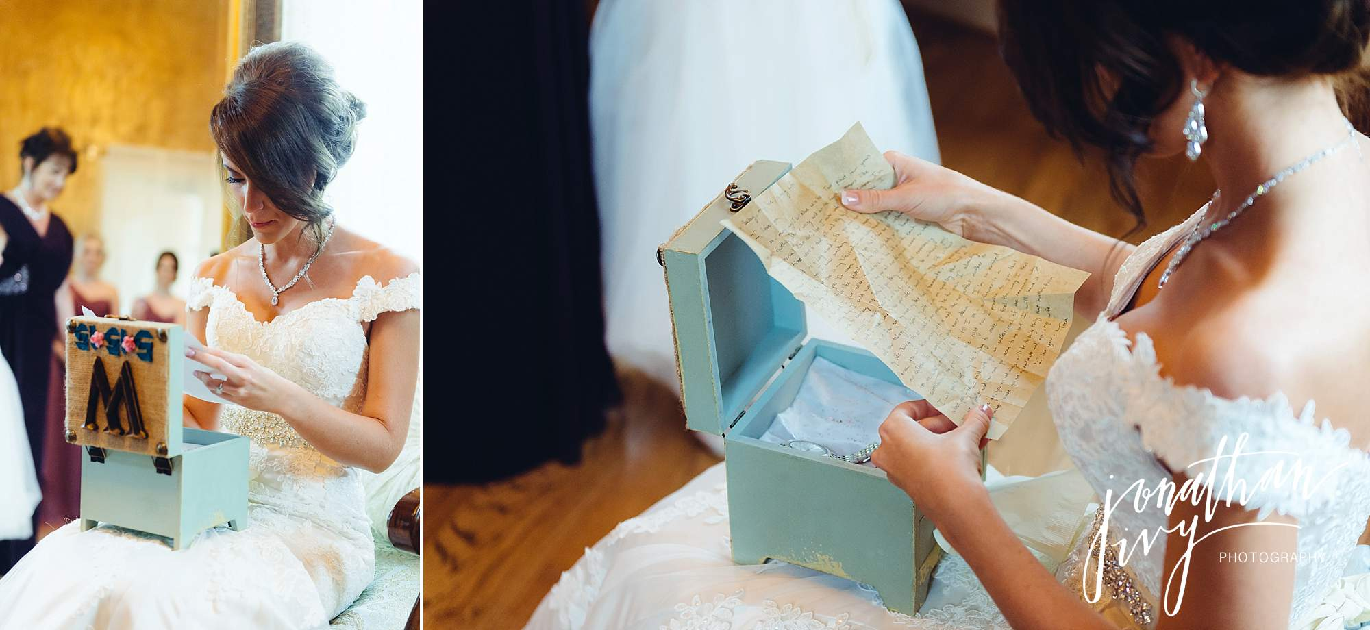 bride opening gift from groom