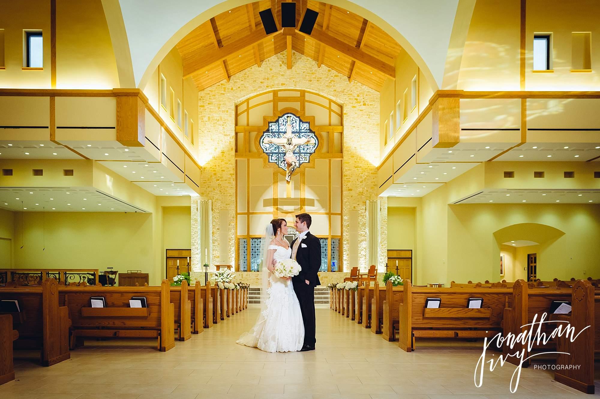 bride and groom Christ the Redeemer Catholic Church Houston