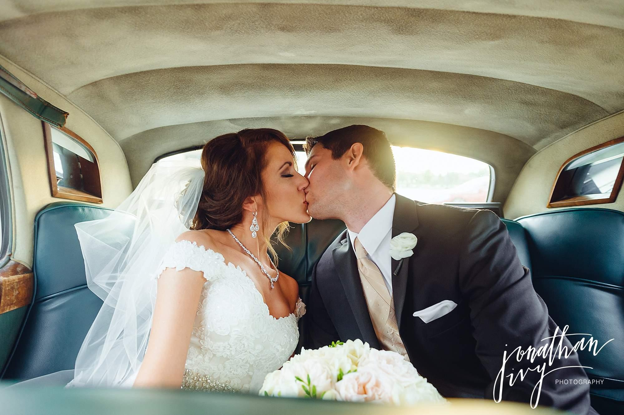 vintage car bride groom getaway car