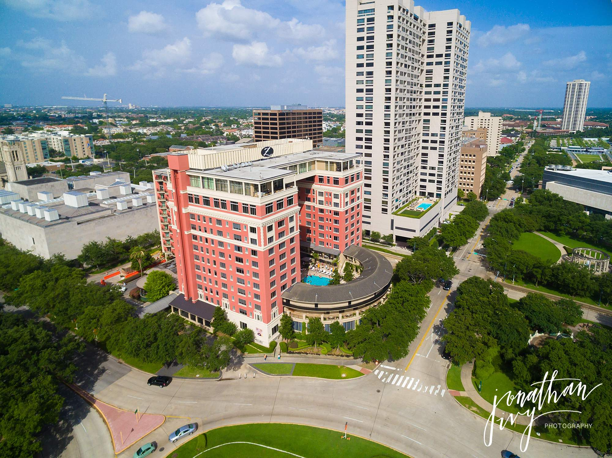 Hotel Zaza Houston Aerial Photo Wedding Bride & Groom