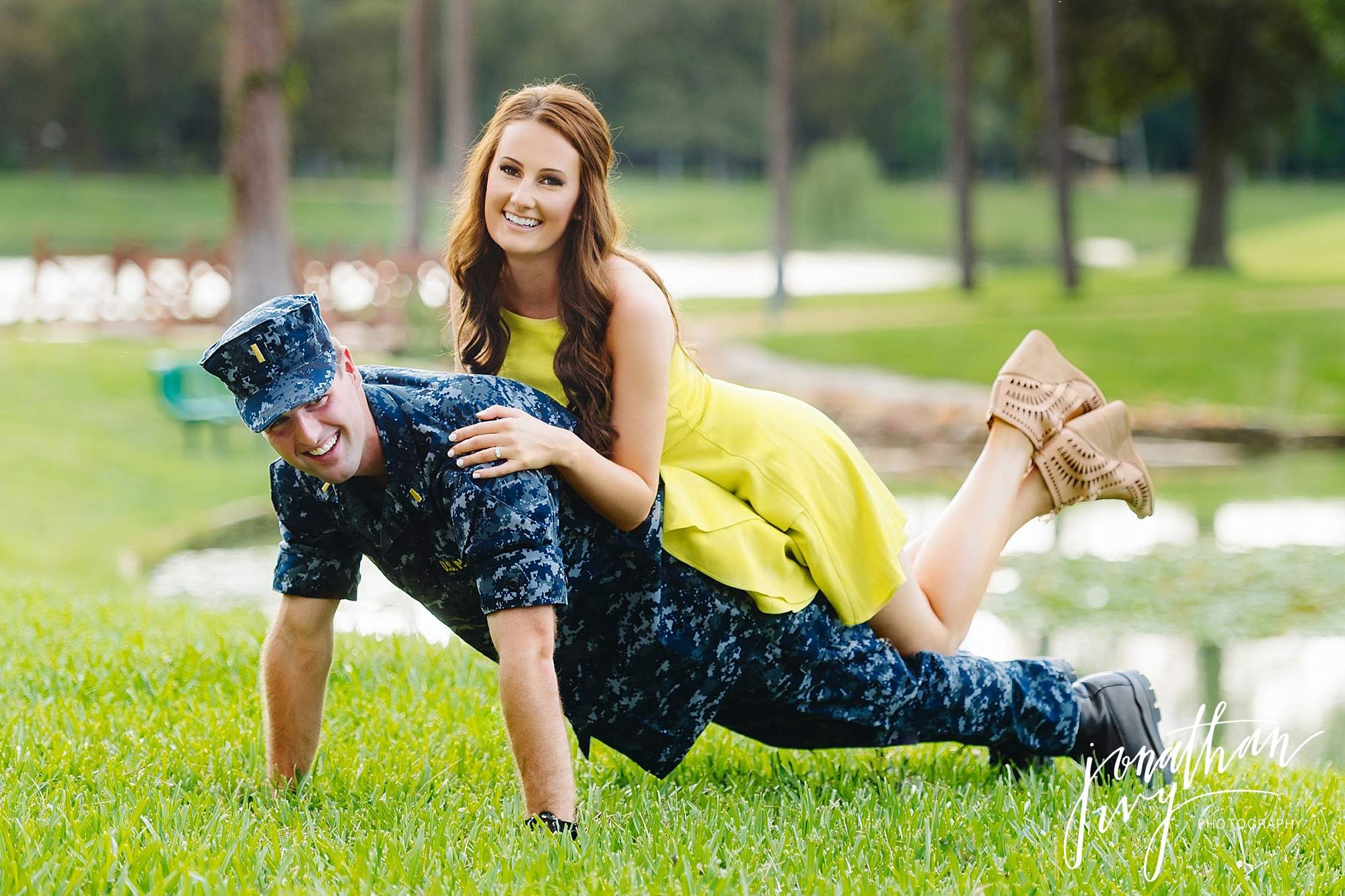 Navy Pushup with bride on back