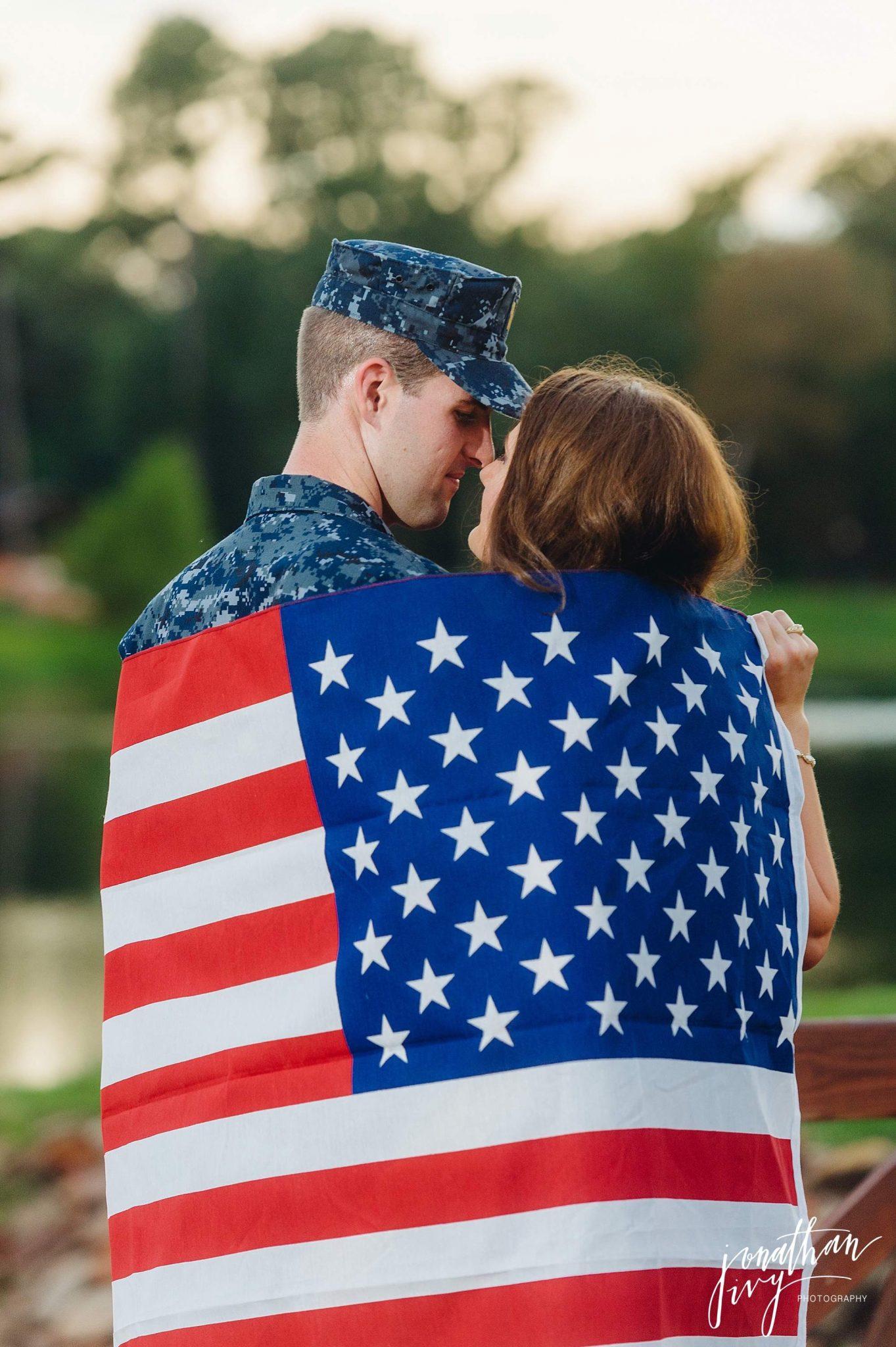 United States Flag Engagement Photos Military