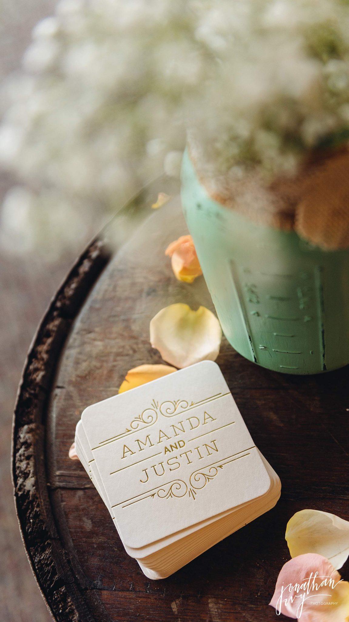 custom letterpress stamped coasters gold glitter wedding