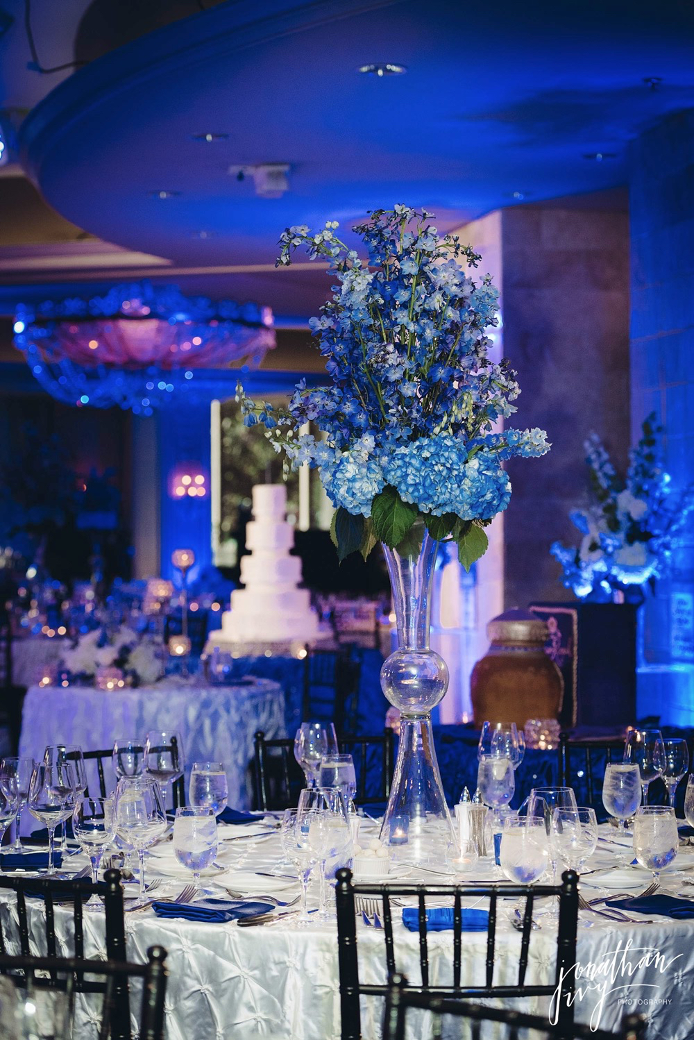 Blue Wedding Theme Up Lights Phantom Ballroom Houston