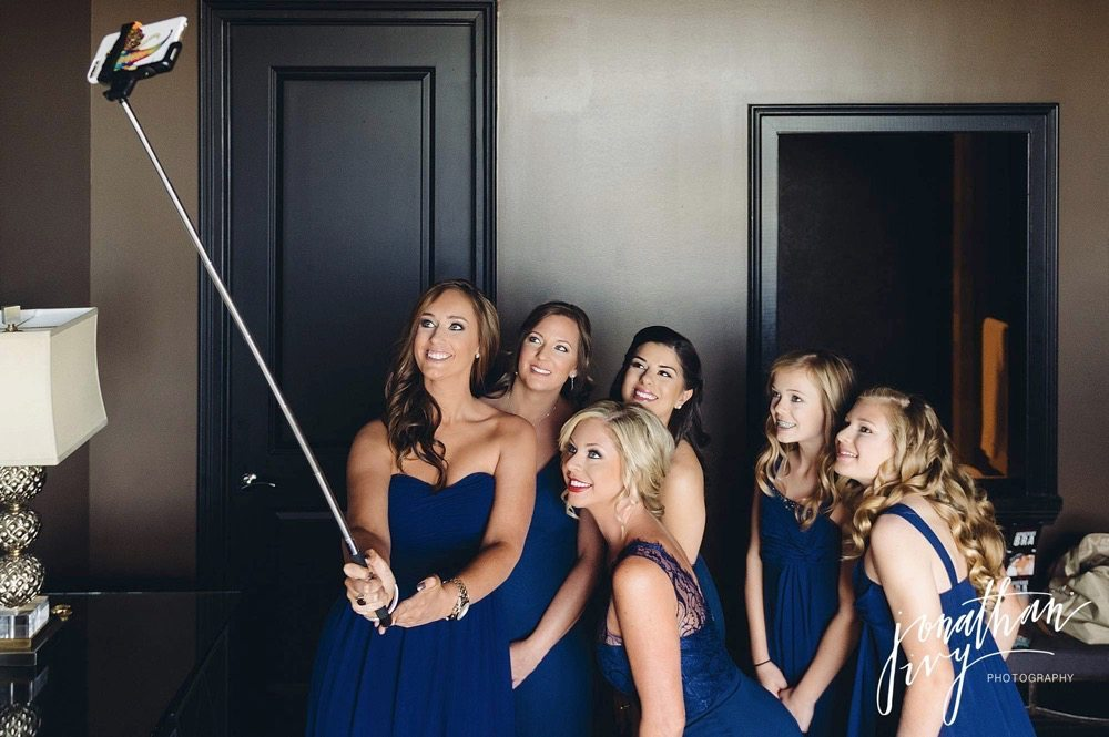 Bridesmaids Selfie Stick Wedding Photo