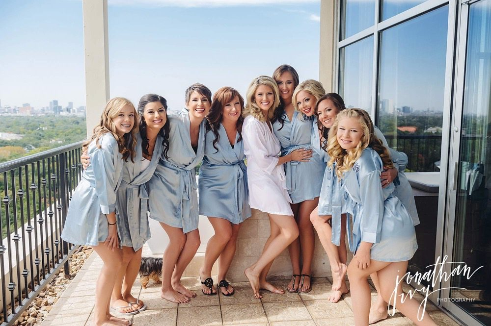 Bridesmaids blue robes gifts monogramed