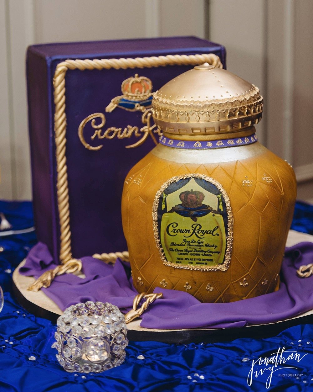 Crown Royal Grooms Cake Shaped like Crown Royal