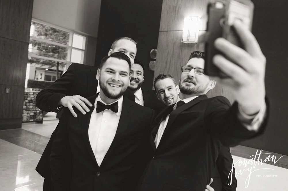 Groomsmen Selfie at The Woodlands Waterway Marriott Hotel