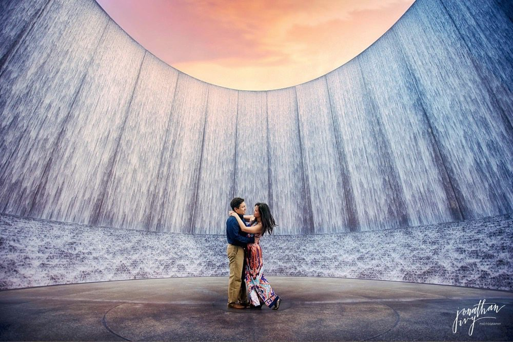 Houston Waterwall Engagement Photo Sunset