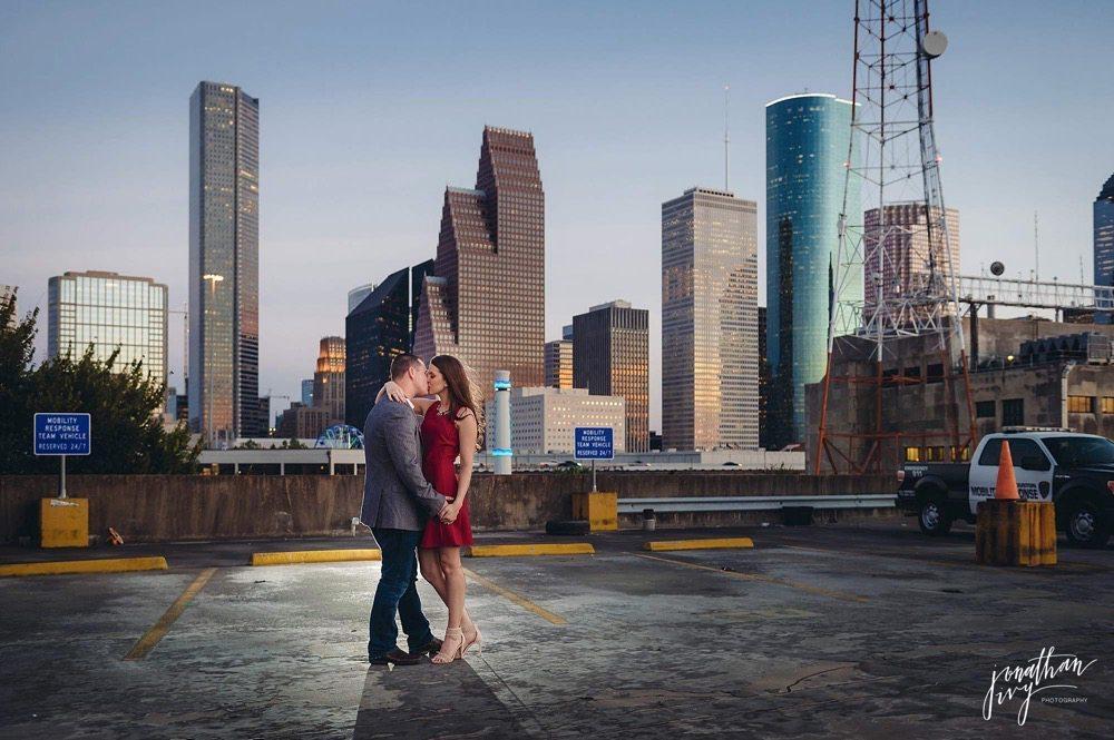 romantic Houston skyline engagement