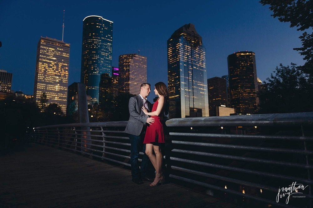 houston skyline engagement photo