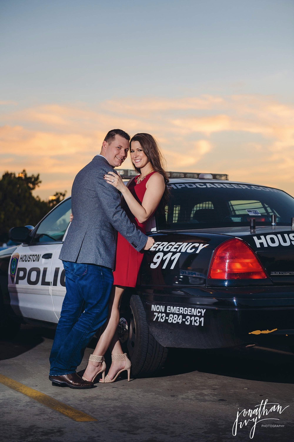 police themed engagement photo
