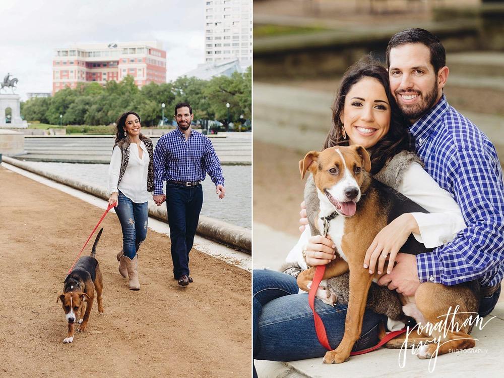 engagement photos with dog hermann park