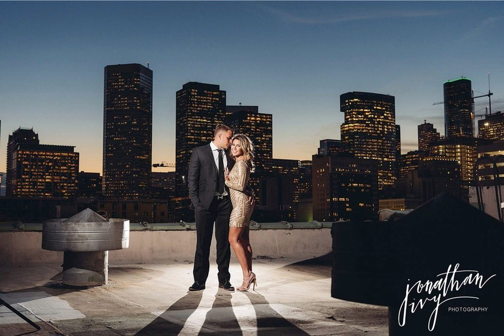 houston downtown rooftop engagement