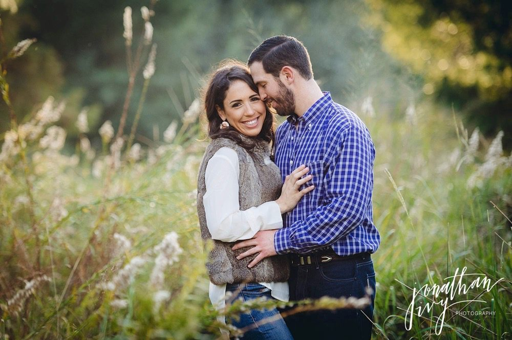 rustic engagement photos at hermann park