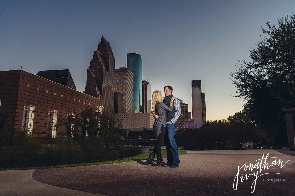 downtown engagement photos in houston