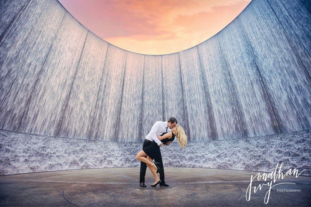 houston waterwall photographer engagement