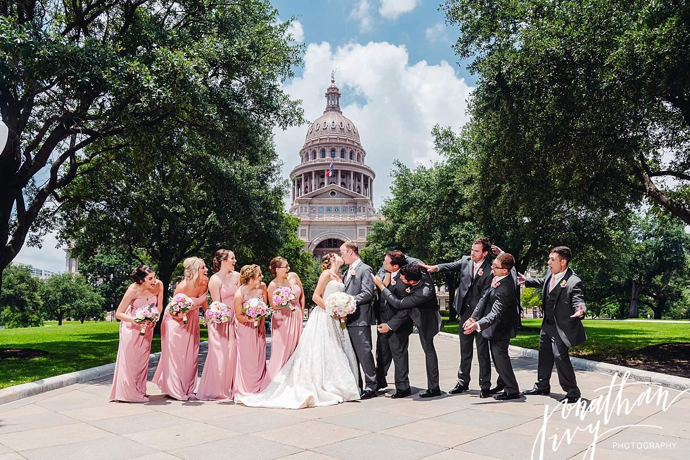 Austin Capitol Building Wedding Party Photos