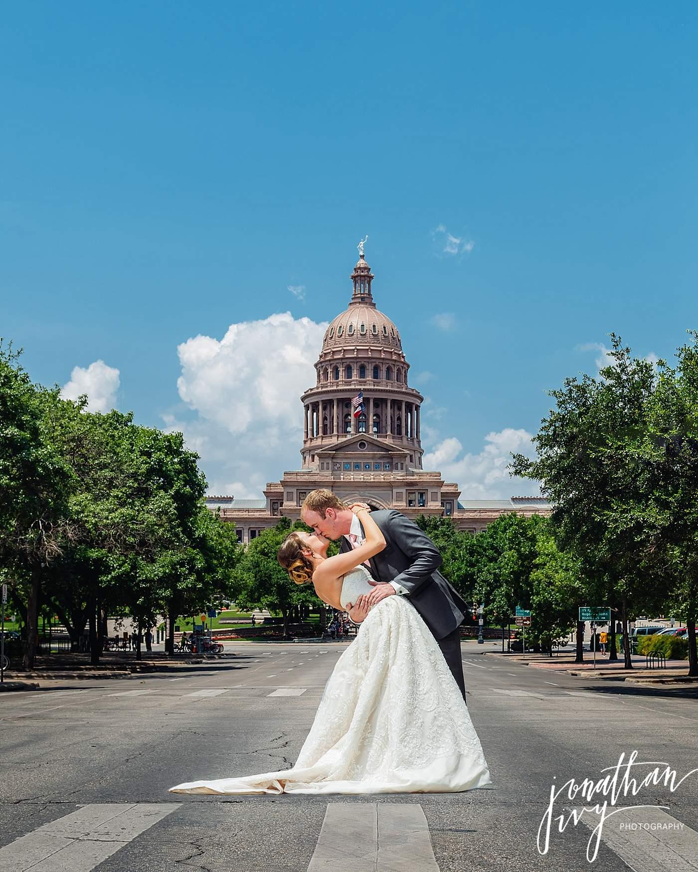 Austin Capitol Building Bride Groom Wedding Photo
