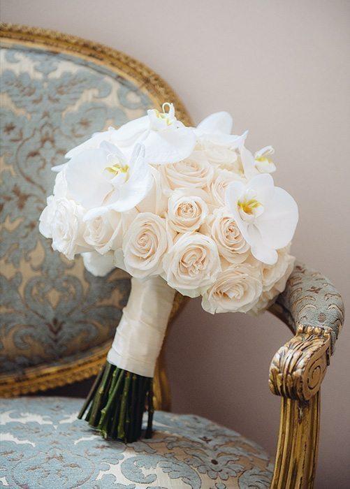White Wedding Rose Bouquet Orchids