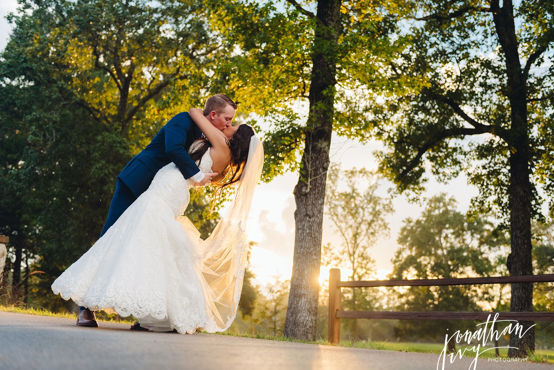 Romantic Bride and Groom kiss