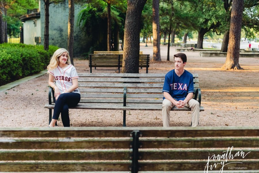 Sports Team Divided Engagement Photos