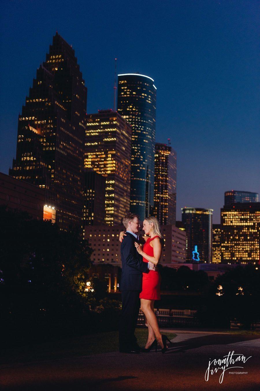 Houston skyline engagement photographer