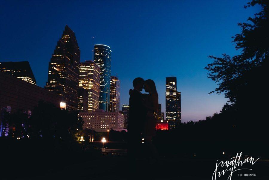 night skyline engagement photos houston