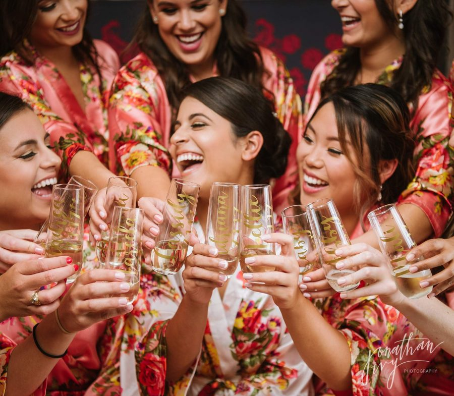 Custom Wedding Champagne Flutes for Bridesmaids