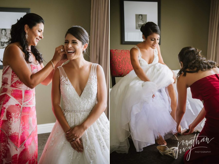 Bride Putting on dress and jewelry