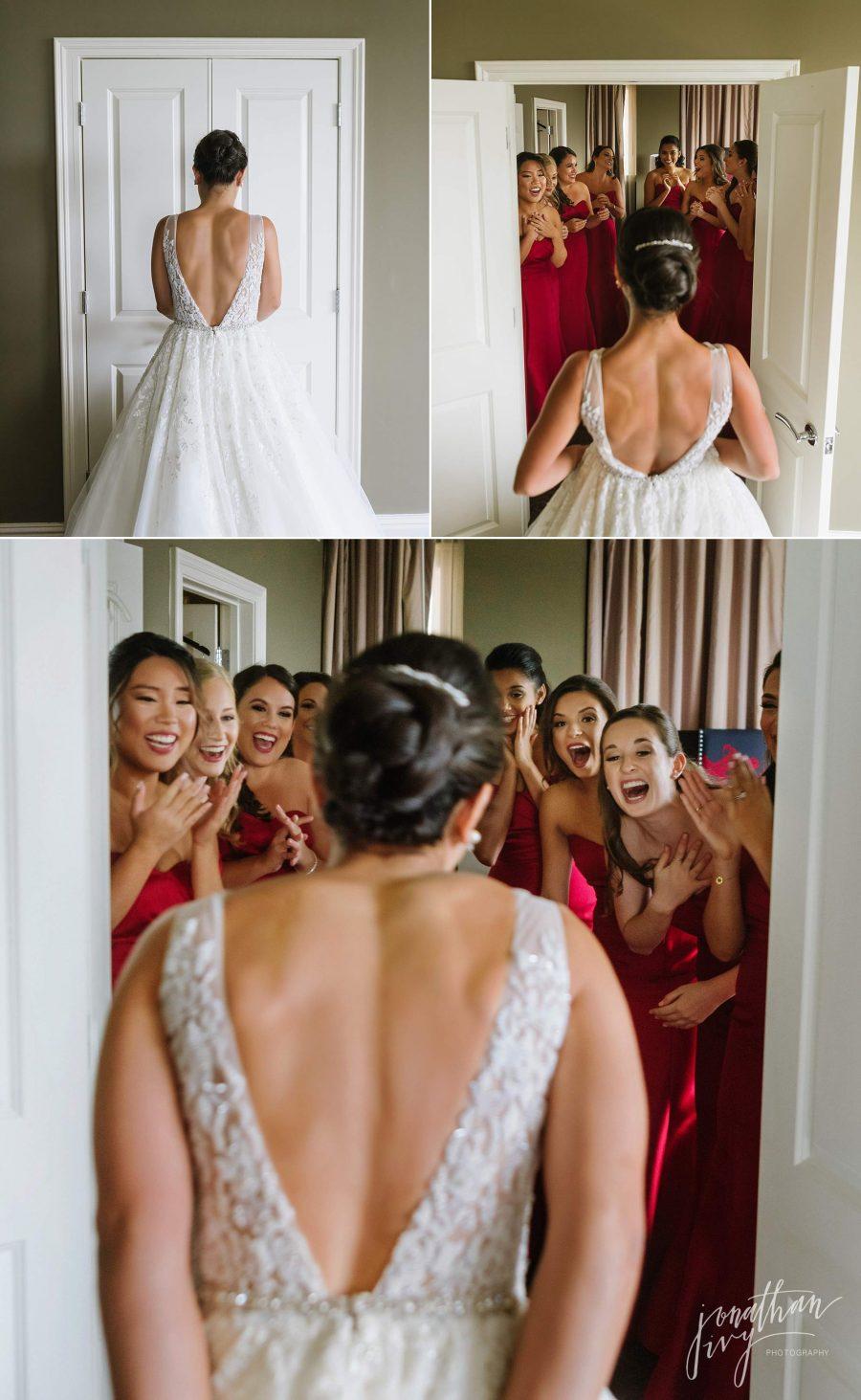 Bridesmaids First look Bride Dress