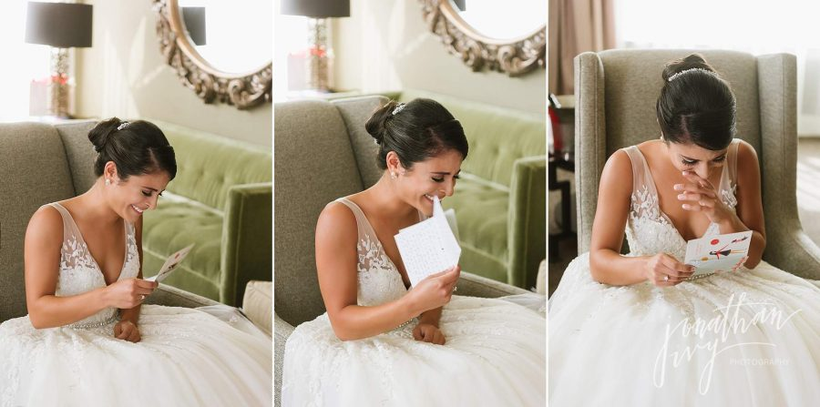 Bride Reading Note from Groom Cry