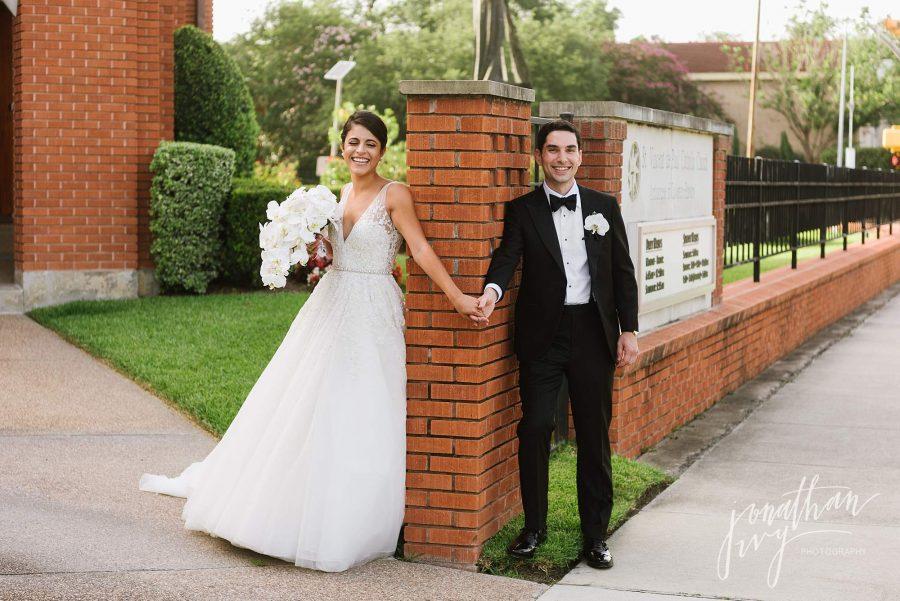 Bride and Groom First Look St Vincent De Paul Houston Wedding