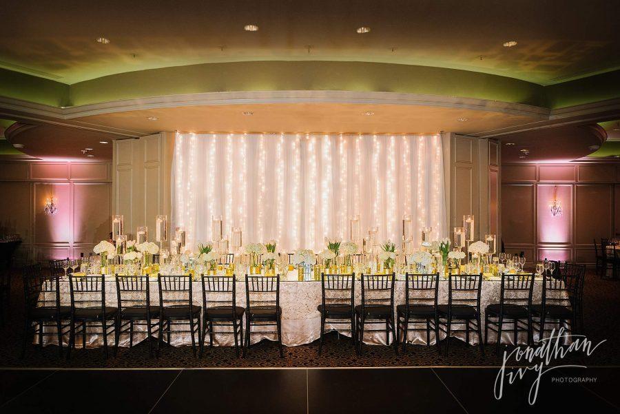 Bridal Party Head Table Hotel Zaza Phantom Ballroom