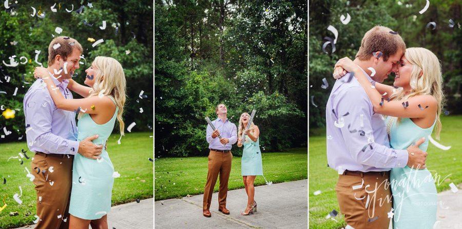 Confetti Canon Engagement Photo