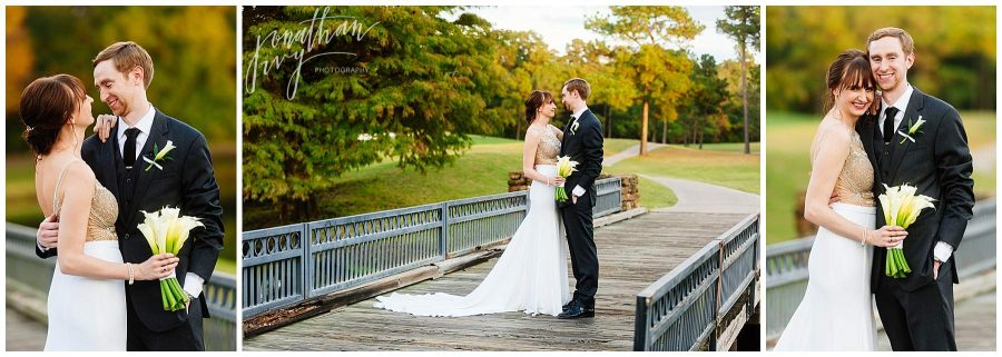 newlyweds at The Woodlands Country Club