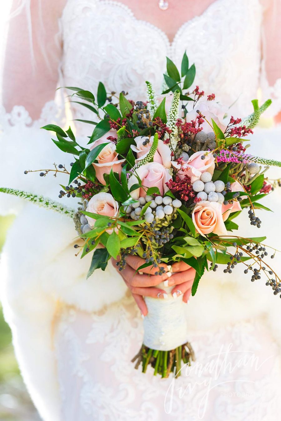 Winter Wildflower Bridal Bouquet with Roses