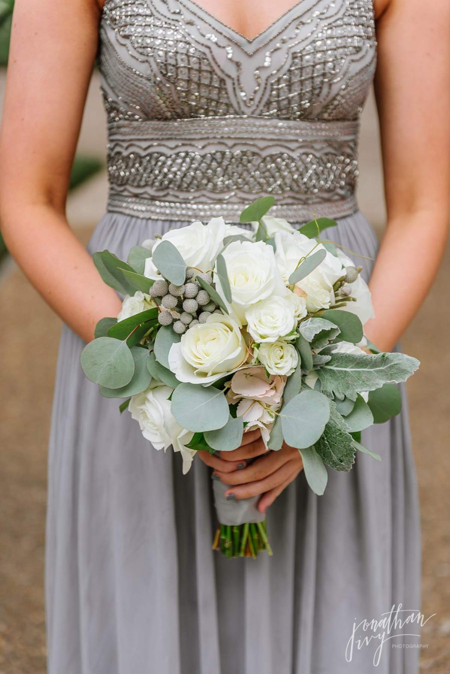Soft White Green Bridesmaid Bouquet