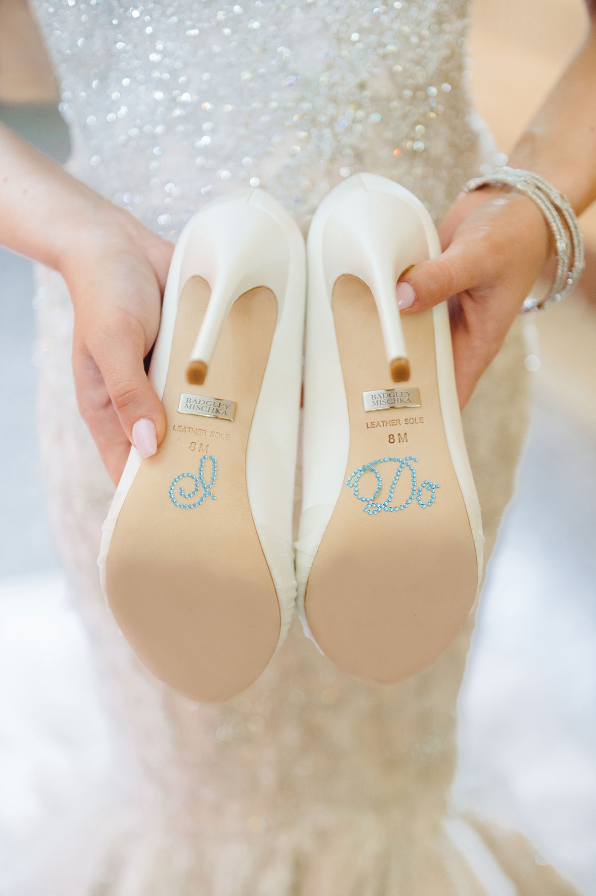 Badgley Miscka Bridal Shoes with I Do written on the soles